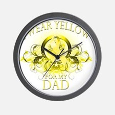 I Wear Yellow for my Dad (floral) Wall Clock