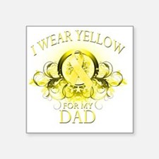 """I Wear Yellow for my Dad (f Square Sticker 3"""" x 3"""""""