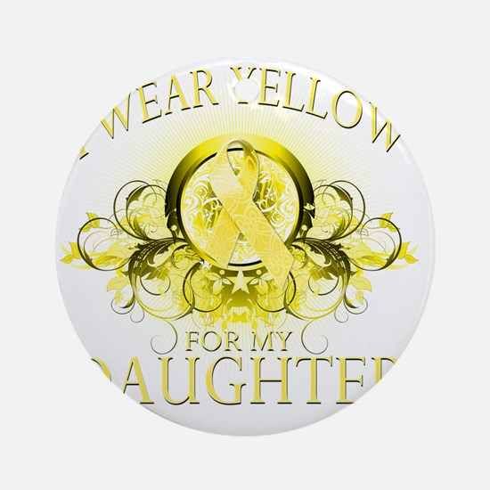 I Wear Yellow for my Daughter (flor Round Ornament