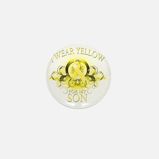 I Wear Yellow for my Son (floral) Mini Button