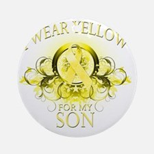I Wear Yellow for my Son (floral) Round Ornament