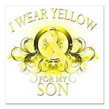 "I Wear Yellow for my Son Square Car Magnet 3"" x 3"""