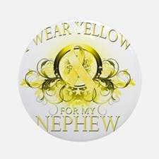 I Wear Yellow for my Nephew (floral Round Ornament