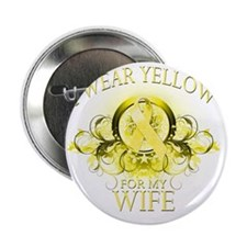 """I Wear Yellow for my Wife (floral) 2.25"""" Button"""