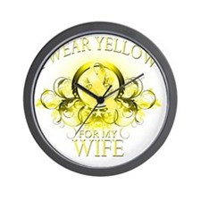 I Wear Yellow for my Wife (floral) Wall Clock
