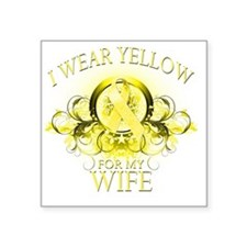 "I Wear Yellow for my Wife ( Square Sticker 3"" x 3"""