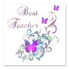 "Best Teacher Square Car Magnet 3"" x 3"""