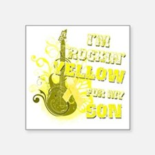 "Im Rockin Yellow for my Son Square Sticker 3"" x 3"""