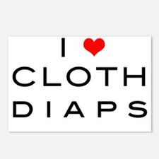 i heart cloth diaps - red Postcards (Package of 8)