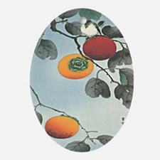 Nuthatch bird and three persimmons i Oval Ornament