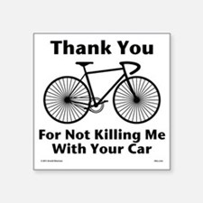 "Thank You - Bicycle Square Sticker 3"" x 3"""