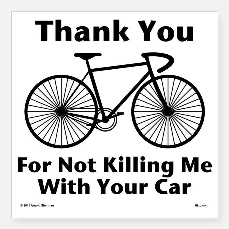 """Thank You - Bicycle Square Car Magnet 3"""" x 3"""""""