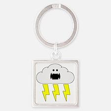 thunderandlightningwhite Square Keychain