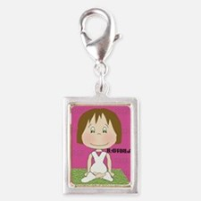 Yoga Happiness Greeting Card Silver Portrait Charm