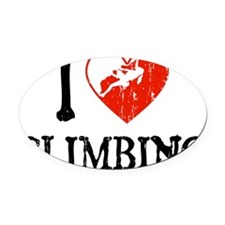 I Love Climbing Oval Car Magnet