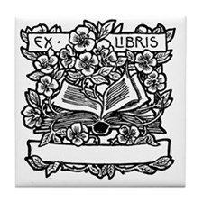 Book and Flowers Ex Libris Tile Coaster