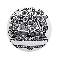 Book and Flowers Ex Libris Round Ornament