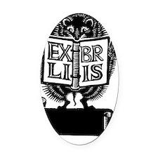 Hedgehog Ex Libris Oval Car Magnet