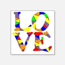 "LOVE STAINED GLASS WINDOW Square Sticker 3"" x 3"""