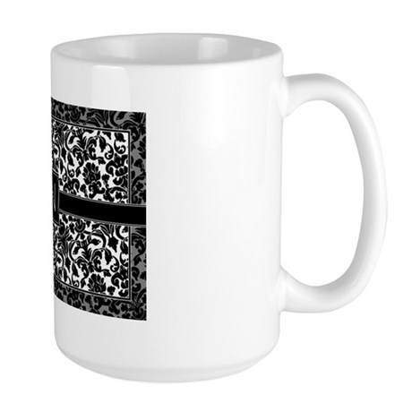monogram_damask_bw_N2 Large Mug