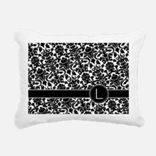 monogram_damask_bw_L Rectangular Canvas Pillow