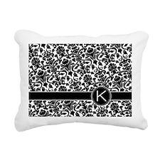 monogram_damask_bw_K Rectangular Canvas Pillow