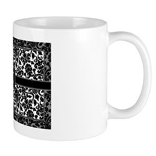 monogram_damask_bw_K2 Small Mug