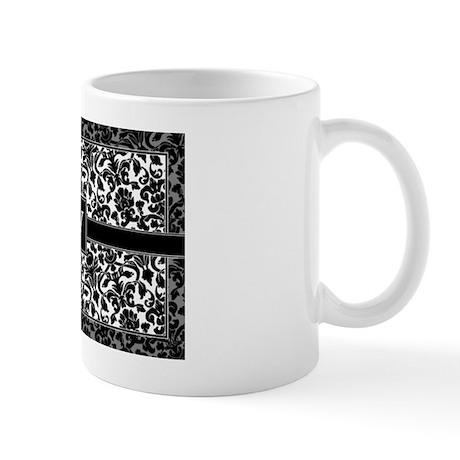 monogram_damask_bw_V2 Mug