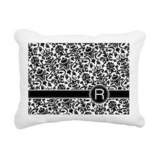 monogram_damask_bw_R Rectangular Canvas Pillow