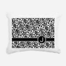 monogram_damask_bw_J Rectangular Canvas Pillow
