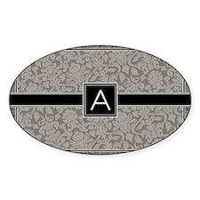 monogram_damask_bw_A3 Decal