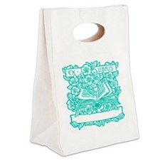 Book and Flowers Ex Libris Teal Canvas Lunch Tote