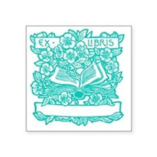 "Book and Flowers Ex Libris  Square Sticker 3"" x 3"""