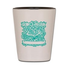 Book and Flowers Ex Libris Teal Shot Glass