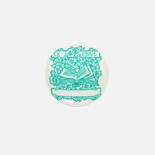 Book and Flowers Ex Libris Teal Mini Button
