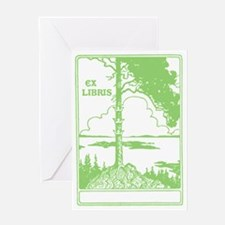 Three Crowns Tree Ex Libris Green Greeting Card