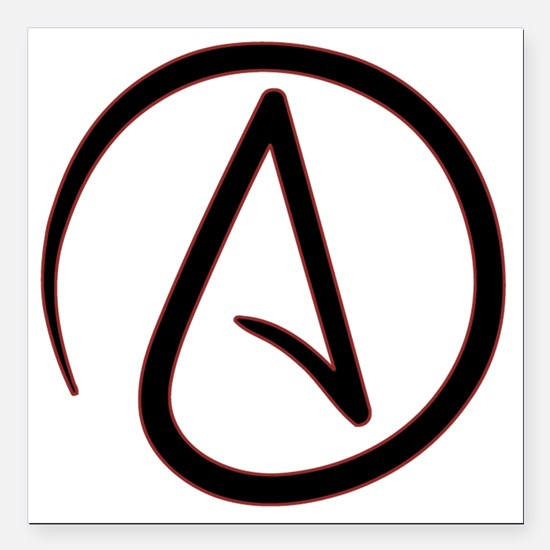 "AtheistSymbolRound Square Car Magnet 3"" x 3"""