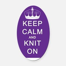 Keep Calm and Knit On Oval Car Magnet