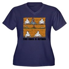 Retired Chic Women's Plus Size Dark V-Neck T-Shirt