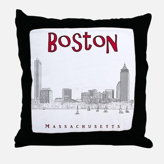 Boston_10x10_Skyline_BlackRed Throw Pillow