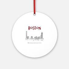 Boston_10x10_Skyline_BlackRed Round Ornament