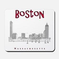 Boston_10x10_Skyline_BlackRed Mousepad