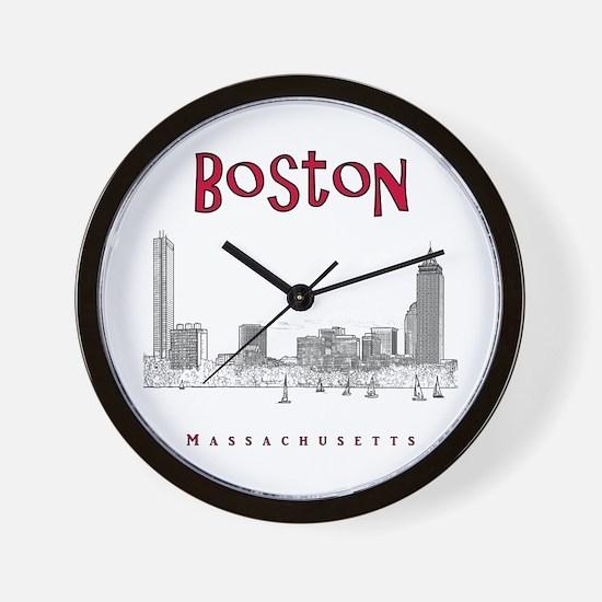Boston_10x10_Skyline_BlackRed Wall Clock