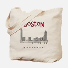 Boston_10x10_Skyline_BlackRed Tote Bag