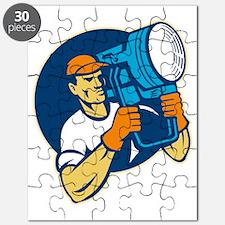 film lighting crew with spotlight Puzzle