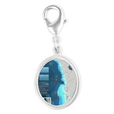 CafePress Surf Map Silver Oval Charm