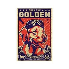 Obey the Golden Retriever! USA Retro Magnet