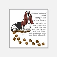 "footprints-basset copy.gif Square Sticker 3"" x 3"""