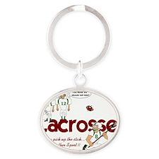 lacrosse1 Oval Keychain