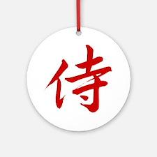 samurai-red-6x6 Round Ornament